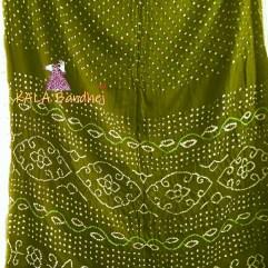 Olive Gaji Silk Bandhani Saree
