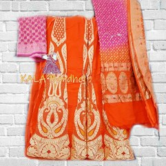 Orange - Pink Banarasi Bandhani Lehenga Choli