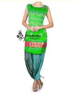 Parrot Gaji Silk Patiala Suit
