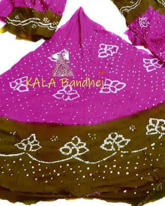 Pink - Khaki GajiSilk Bandhani Chaniya Choli