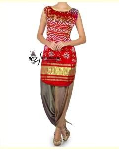 Red Gaji Silk Patiala Suit