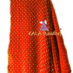 Red GajiSilk Bandhani Dupatta