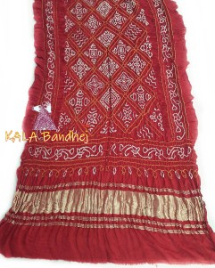 Red GajiSilk BavanBaug Bandhani Dupatta