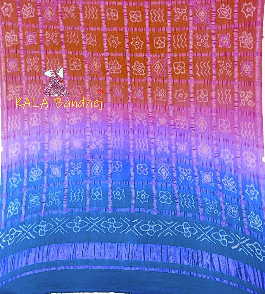 Skies To Rusty GajiSilk Gharchola Bandhani Dupatta