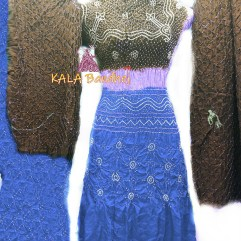 Tan - Slate - Blue GajiSilk Bandhani DressMaterial