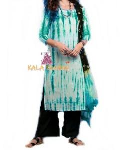Turquoise - Shibori Dress Material