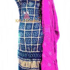 Ultra Blue - Fuchsia GajiSilk Gharchola DressMaterial