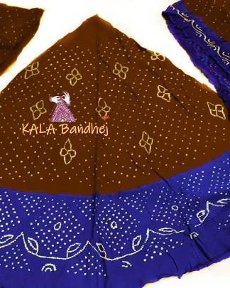 Wood - Night Blue GajiSilk Bandhani Chaniya Choli