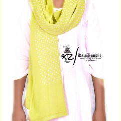Lem Yellow Cotton Bandhani Dupatta
