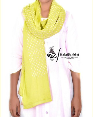Lem Yellow Cotton Bandhani Dupatta