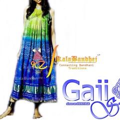 pista blue gajisilk gown