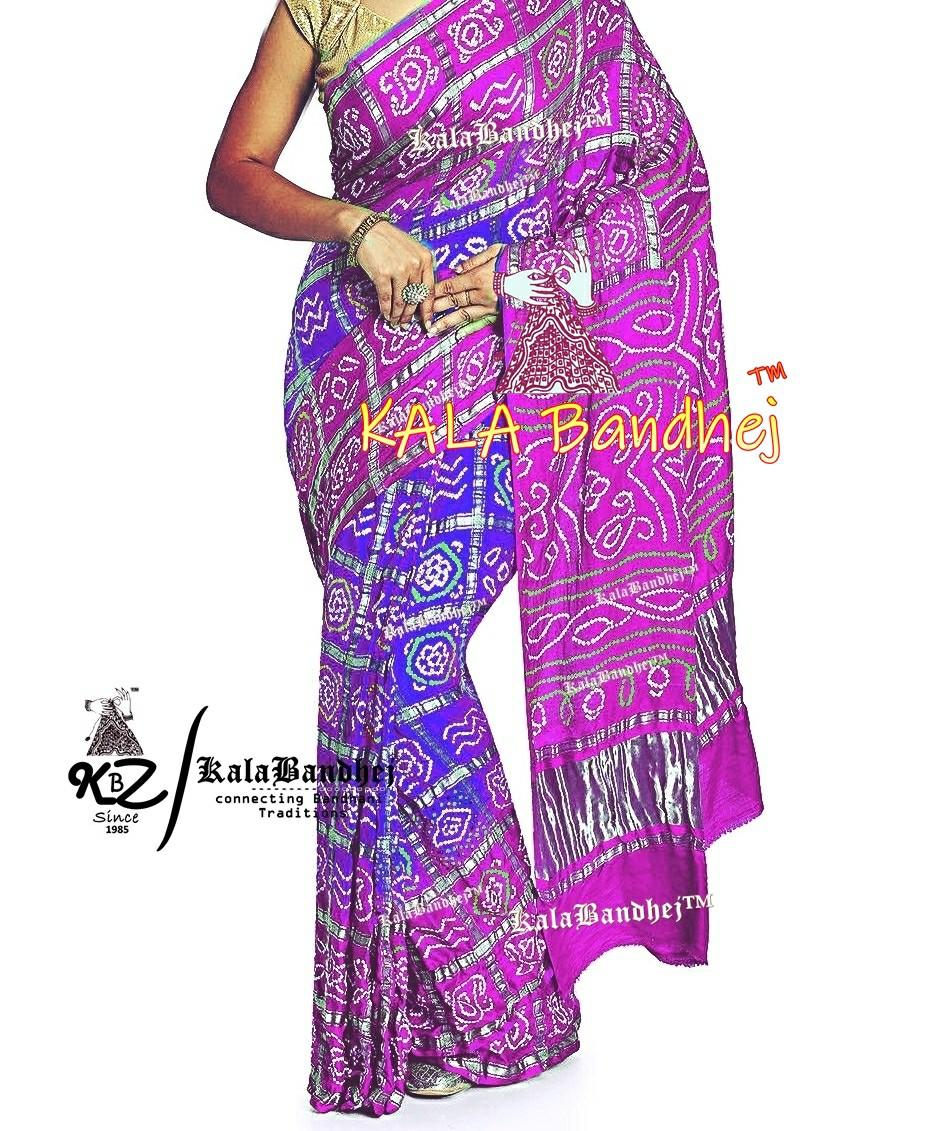 Magenta-Purple GajiSilk Bandhani Gharchola Saree