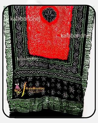 Black-Red Gajisilk Bandhani Naksi-Boder Dupatta