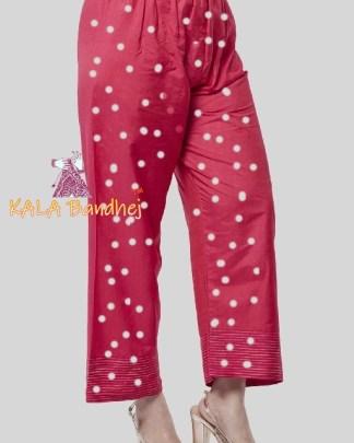 Bandhani Pink Straight Modal Silk Palazzo