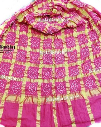Pink Cotton Gharchola Saree