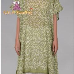 Mehndi Green Shikari Gaji Silk Bandhani Kurta Kaftan