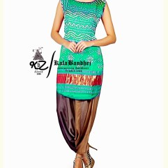 turquoise Gaji Silk Patiala Suit