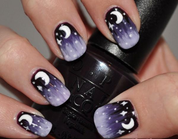 Starry Nights Nail Art Purple