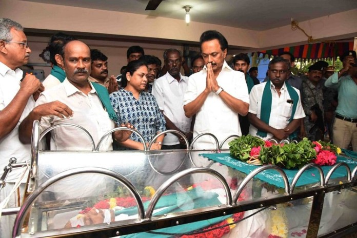 MK Stalin pays last respect to Nel Jayaraman