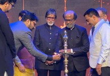 Rajinikanth and Amitabh Bachchan at the inauguration of IFFI 2019