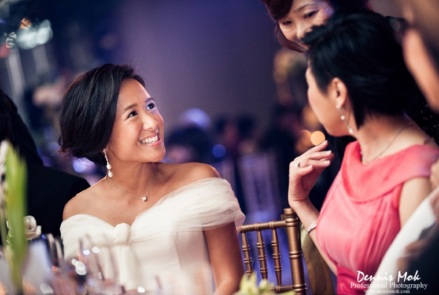 Bride Adah talking to guests the wedding banquet