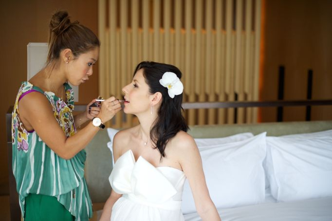 Kalamakeup wedding makeup and hair styling for bride Monica at Upper House, Admiralty