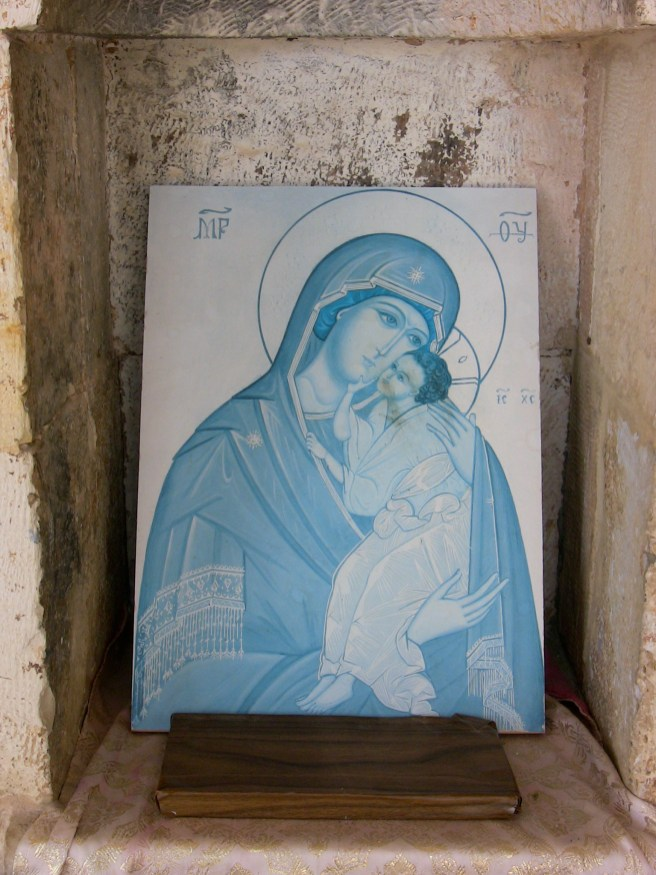 Blue Virgin Mother in a Cave