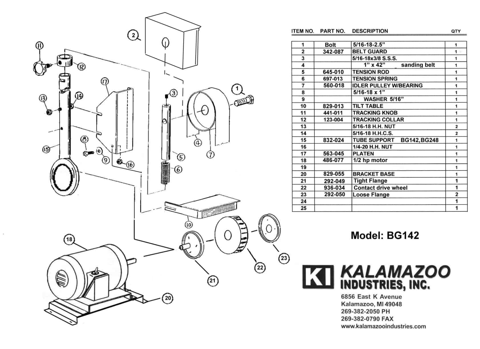 Bg142 1 X 42 Inch Industrial Belt Grinder Parts List