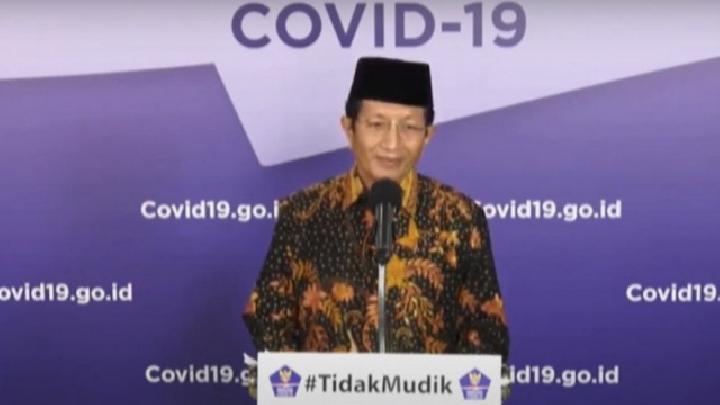 Tangakapan layar, Imam Besar Masjid Istiqlal Prof. KH. Nasaruddin Umar alam konferensi pers Gugus Tugas Percepatan Penanganan COVID-19 di Graha BNPB, Jakarta, Rabu, 27 April 2020. ANTARA