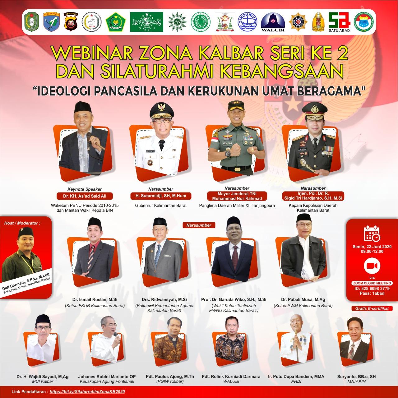ISTIMEWA/Famplet Webinar Seri II Soal Pancasila, FKUB Kalbar Hadirkan Tokoh Nasional