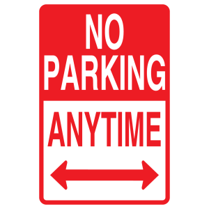 Stock Signs - No Parking Anytime