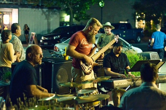 Band Playing Live Music on the Street. Image by Kevin Bidwell.