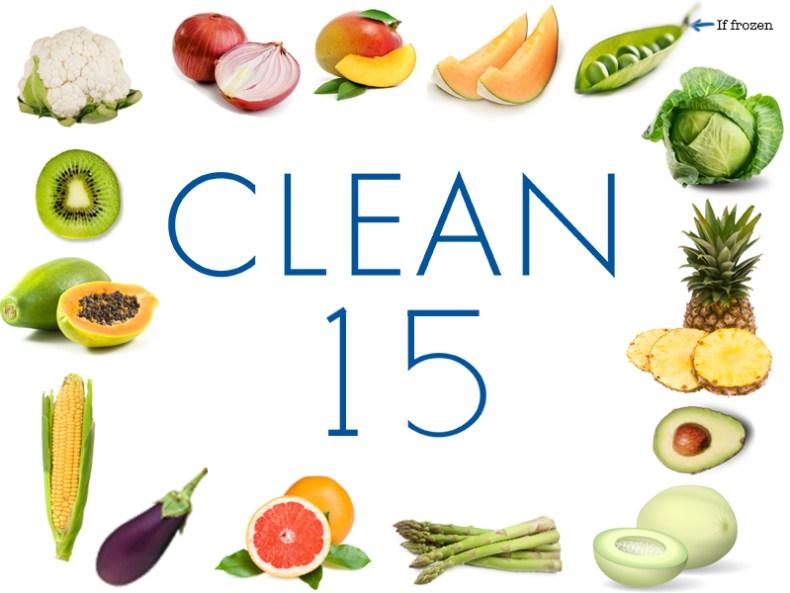The Clean 15 (2016): cauliflower, kiwi, papaya, sweet corn, eggplant, grapefruit, asparagus, honeydew melon, avocado, pineapple, cabbage, sweet peas (if frozen), cantaloupe, mango and onion.