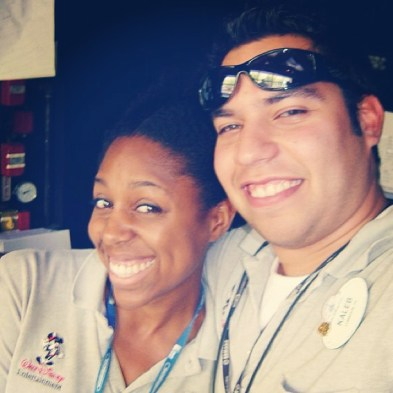 Kaleb and I in FOH booth at Epcot. Just a friend at the time. Soon to be best friend...and husband years later.