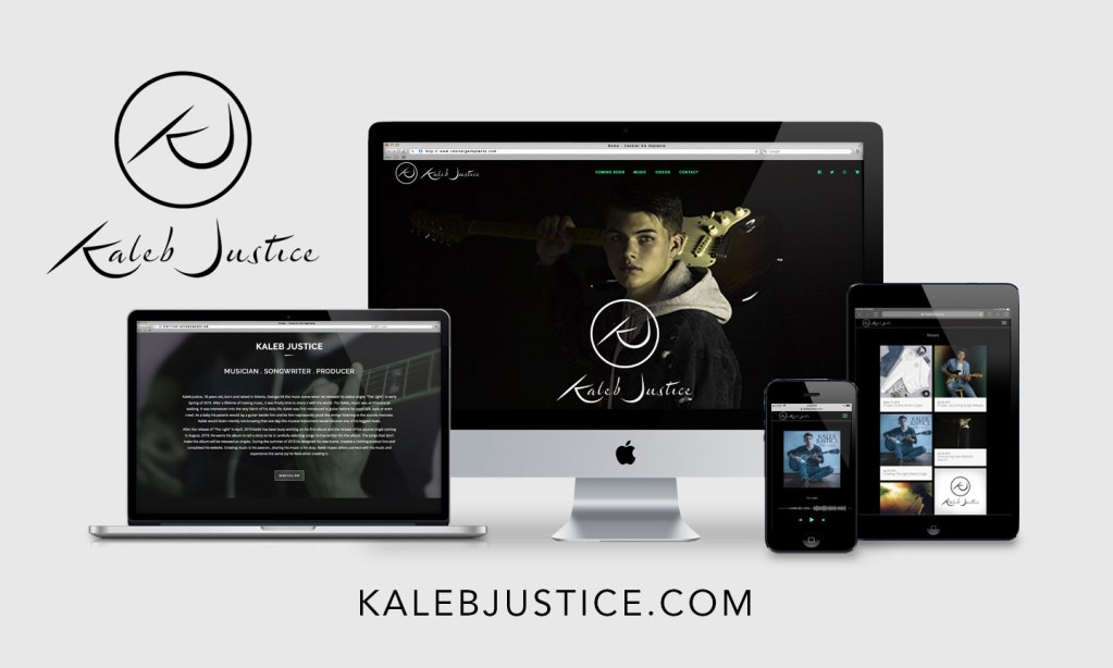 kaleb new website on devices