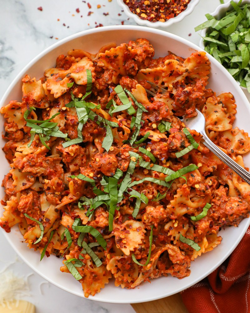 Italian chicken sausage pasta is so easy to make and full of flavor too! It's hearty, spicy and easily made dairy free too!