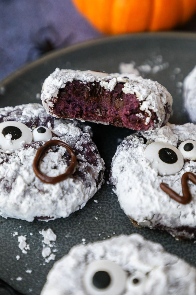 These purple sweet potato cookies are the perfect healthier treat to make this Halloween! They're gluten free, made with simple ingredients and best of all...purple!