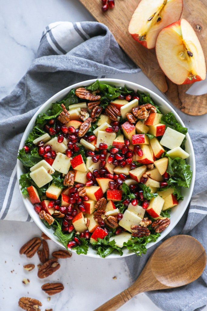 A healthier side salad that packed full of flavor! This sweet and and tangy kale salad is loaded with fresh seasonal ingredients and is sure to become a favorite of yours soon!