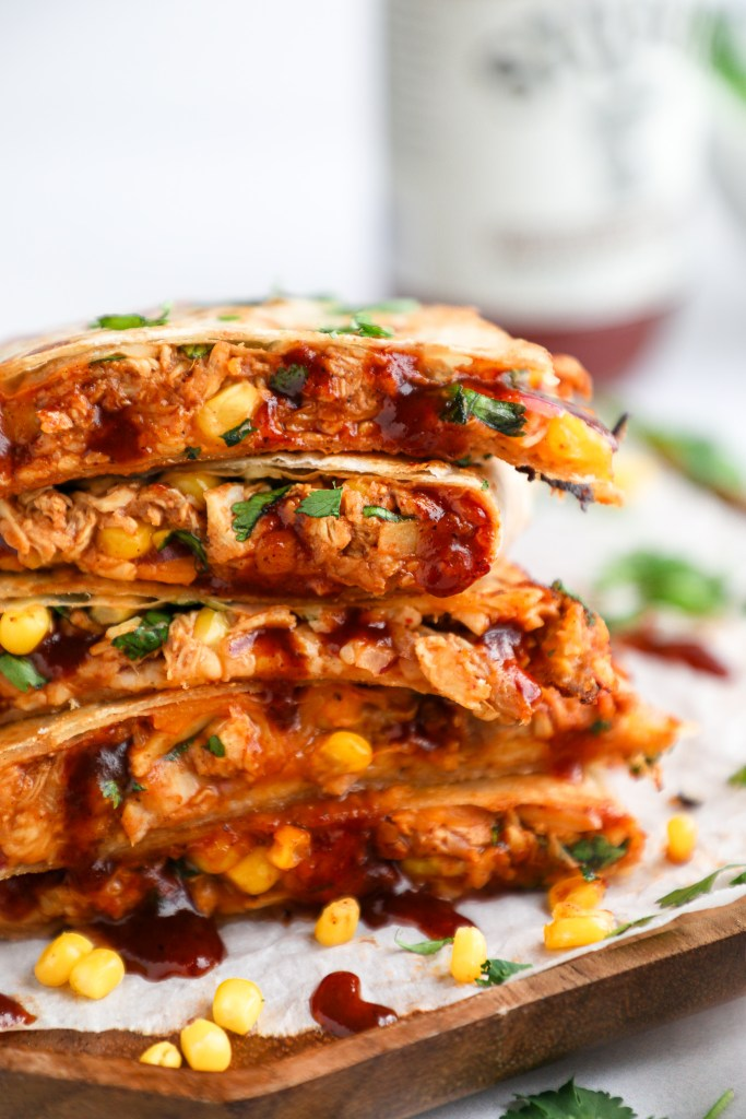 These are the best bbq chicken quesdillas you will ever make! They're crispy on the outside and gooey in the middle!