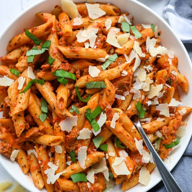Penne pasta alla vodka made without any vodka at all! It's healthier and simple to make and easily made dairy free or gluten free too!