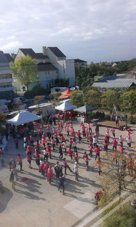 A Saint-Rémy samedi 8 octobre, un zumba rose a mobilisé les habitants contre le cancer place de la Mairie