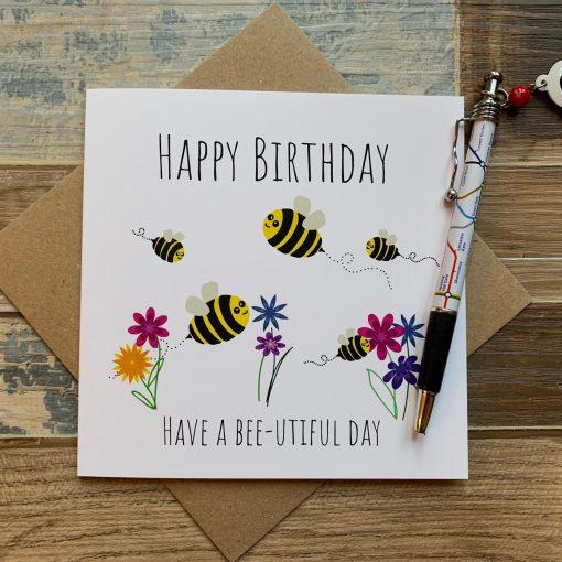 Happy Birthday Bee Card