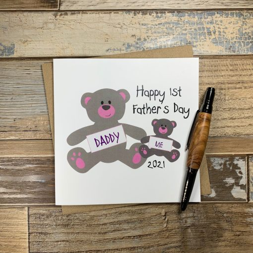 Happy First Fathers Day Teddy Card