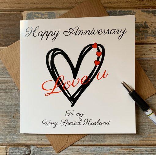 Anniversary Card Hearts To My Husband