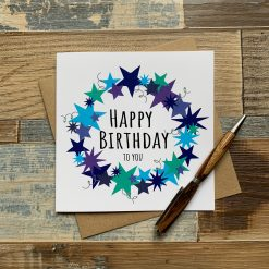 Blue Stars Birthday Card