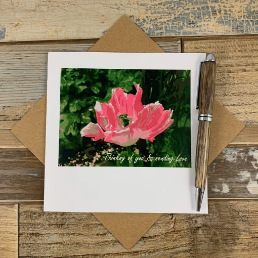 Thinking of you and sending love flower card