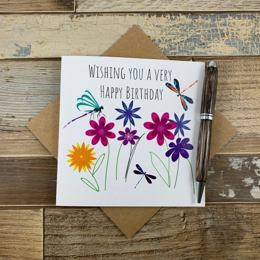 Dragonfly and Flowers Birthday Card