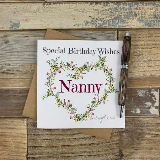Nanny Birthday Card Autumnal Flowers