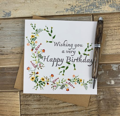 Autumnal Flowers Birthday Card