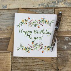 Autumnal Flowers Happy Birthday Card